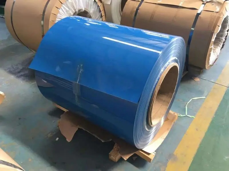 Color aluminum roll covered with green film